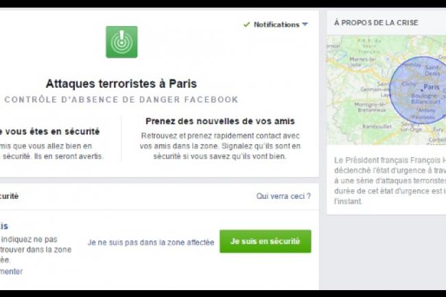 Très utilisé lors des attentats de Paris, l'outil de contrôle d'absence de danger de Facebook va maintenant être généralisé lors d'autres catastrophes. (crédit : D.R.)
