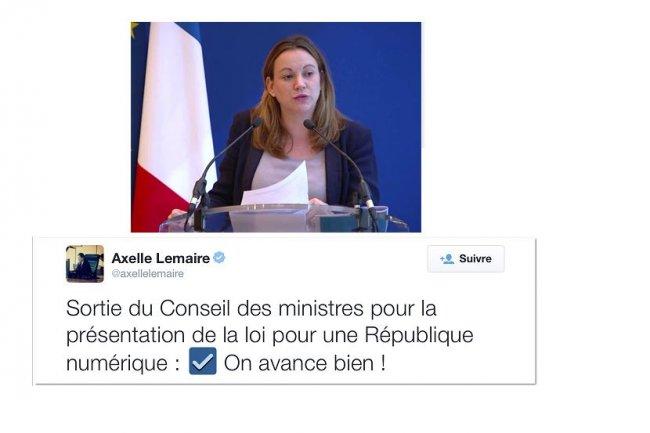� On avance bien ! �, a twitt� ce matin Axelle Lemaire � la sortie du Conseil des ministres o� elle a pr�sent� la loi pour une R�publique num�rique.