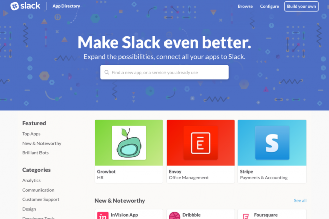 Slack a lancé un annuaire d'applications baptisé App Directory.