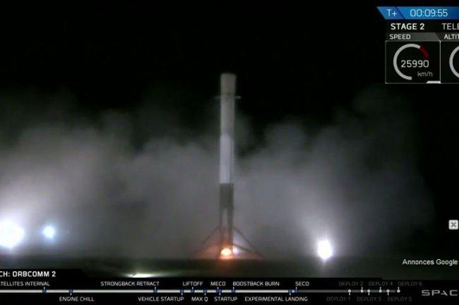 Une vidéo postée sur YouTube montre le retour sur terre hier, 21 décembre 2015, du premier étage de la fusée Falcon 9 de SpaceX.