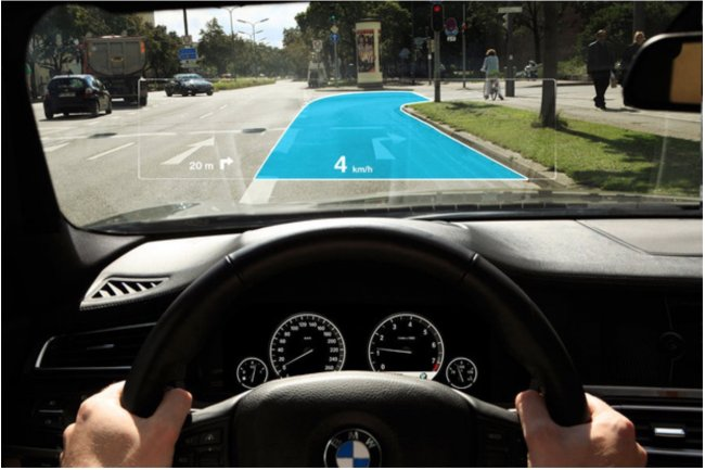 La réalité augmentée, combinée avec la technologie d'affichage à hauteur de vue, permettra aux conducteurs de garder un contact visuel avec la route pour la navigation. (crédit : BMW)
