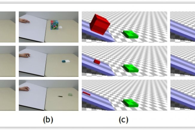 Un moteur de physique 3D convertit les vid�os de collisions montr�es � gauche dans les simulations. (cr�dit : MIT Computer Science and Artificial Intelligence Laboratory)