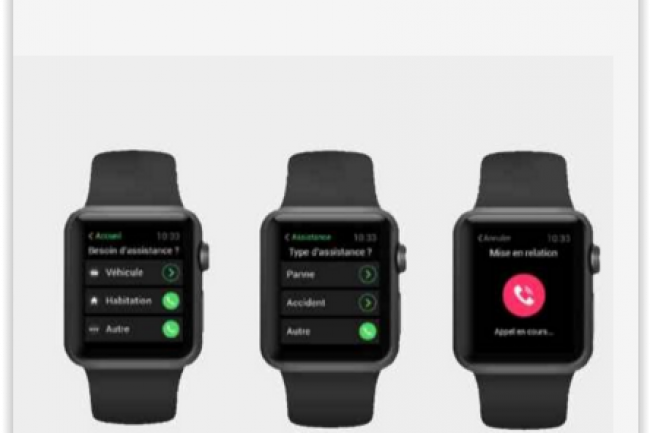 L'application mobile de la Matmut a �t� d�clin�e et adapt�e pour Apple Watch. (cr�dit : D.R.)