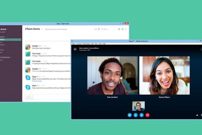 Pour profiter de l'engouement des PME-PMI pour Slack, Microft greffe son outil Skype à la plate-forme collaborative.