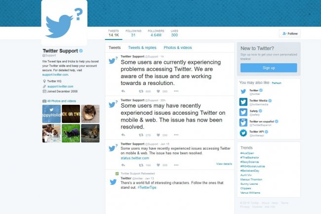 Au cours des derniers jours, Twitter a signal� plusieurs interruptions de service.