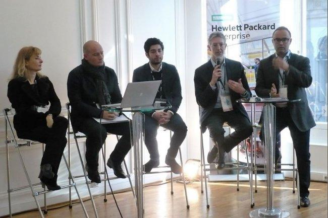 De gauche à droite, David Houssemand, CEO d'Inventy, Arthur Perticoz, co-fondateur de Wynd, et Philippe Dumont, co-fondateur d'Azetone, dont la solution permet de créer des profils clients à intégrer avec des outils analytiques et de CRM. (crédit : LMI)