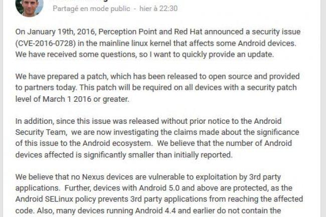 Dans un billet, l'�quipe s�curit� d'Android chez Google, donne des pr�cisions sur les versions de l'OS mobile susceptibles d'�tre touch�es par la faille zero-day du noyau Linux.