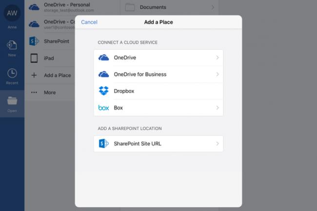 Apr�s Dropbox, OneDrive et SharePoint, il est d�sormais possible d�ouvrir directement des documents Office stock�s dans Box depuis Office pour iOS.