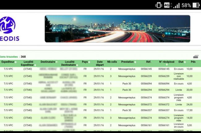 368 coordonnées clients et informations de colis sont disponibles en ligne sur l'interface de suivi d'expédition de Geodis. (crédit : D.R.)