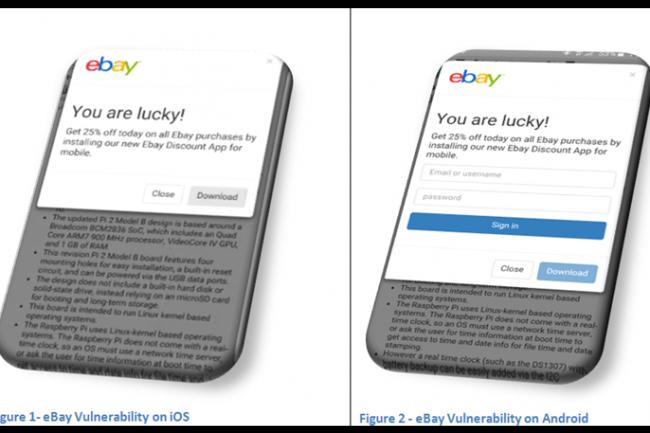 Le message qui apparaît dans la boutique de l'agresseur sur le site eBay incite l'utilisateur non averti à télécharger une nouvelle application mobile eBay en proposant une remise. (crédit : D.R.)