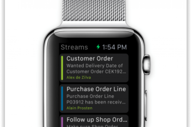 IFS Streams, le flux de notifications relatif aux applications et progiciels de l'éditeur; est disponible sur la Watch d'Apple. (crédit : D.R.)