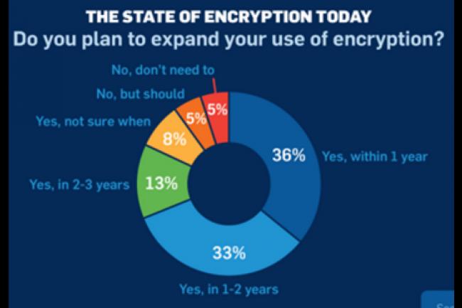 D'apr�s la derni�re �tude The State of Encryption de Sophos, 36% des entreprises dans le monde pr�voient d'�tendre l'usage du chiffrement d'ici 1 an. (cr�dit : D.R.)