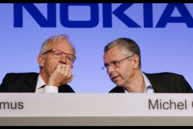 Philippe Camus (à gauche), a pris la succession de Michel Combes. Ce dernier avait lancé le plan Shift, en 2013, qui porte aujourd'hui ses fruits puisque le groupe Alcatel Lucent est à nouveau bénéficiare. (Crédit D.R)