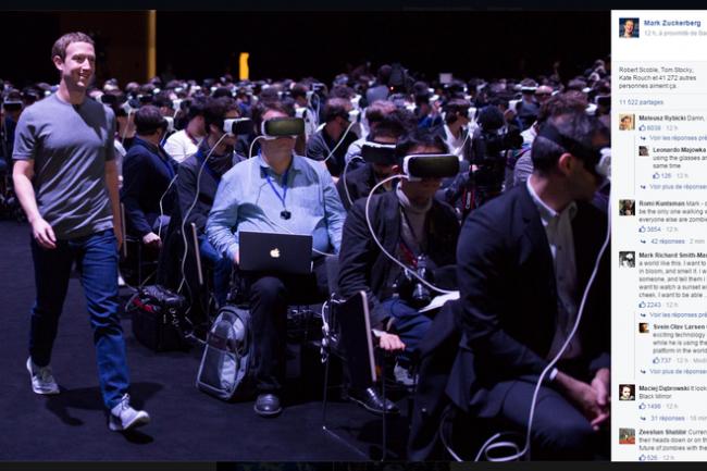 Perdus dans un paradis artificiel imposé par Samsung et Facebook, les participants à ce keynote au MWC 2016 étaient devenus de simples spectateurs. (Crédit D.R.)