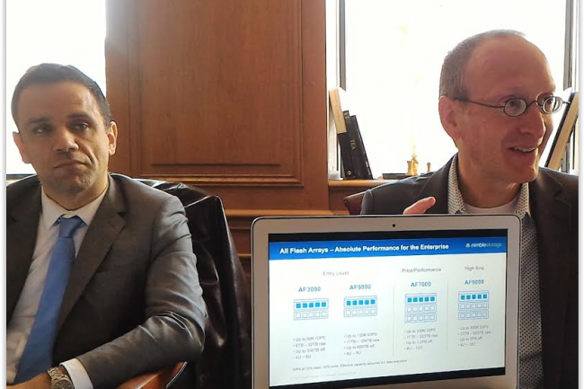 Gabriel Chadeau et Gavin Cohen, respectivement directeur g�n�ral France et directeur senior en charge de la strat�gie et du d�veloppement de Nimble Storage. (cr�dit : LMI)
