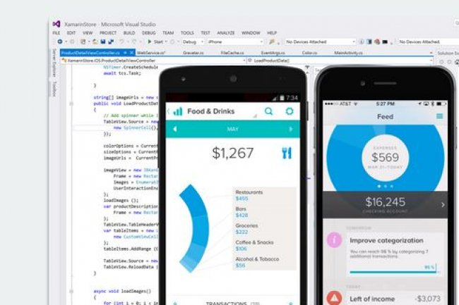 Avec la plateforme de Xamarin, les développeurs écrivent leurs apps mobiles multiplateformes en C# dans Visual Studio. (crédit : D.R.)