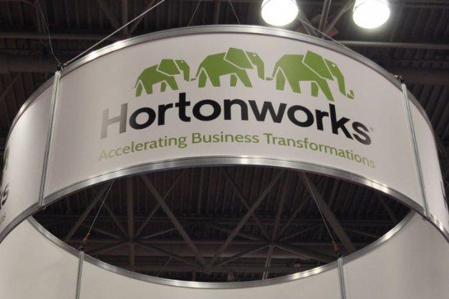 Le stand d'Hortonworks sur la conf�rence Strata + Hadoop World � New York le 29 septembre 2015. (Cr�dit : Marc Ferranti/IDGNS), 2015