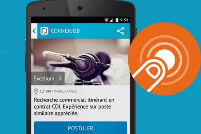 Le concept de l'app mobile CornerJob sur la réponse d'un recruteur à un candidat sous 24h. (Crédit: D.R.)