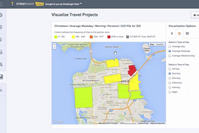 Visualisation de la fr�quence des trajets en provenance de Chinatown vers d'autres secteurs g�ographiques avec la solution StreetLight Insight. (cr�dit : D.R.)