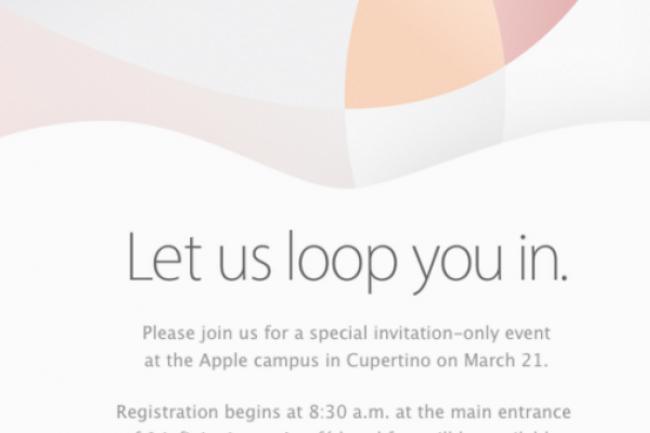 Apple a envoy� un carton d'invitation relatif � son �v�nement du 21 mars, retransmis en direct sur le web � 18h. (cr�dit : D.R.)
