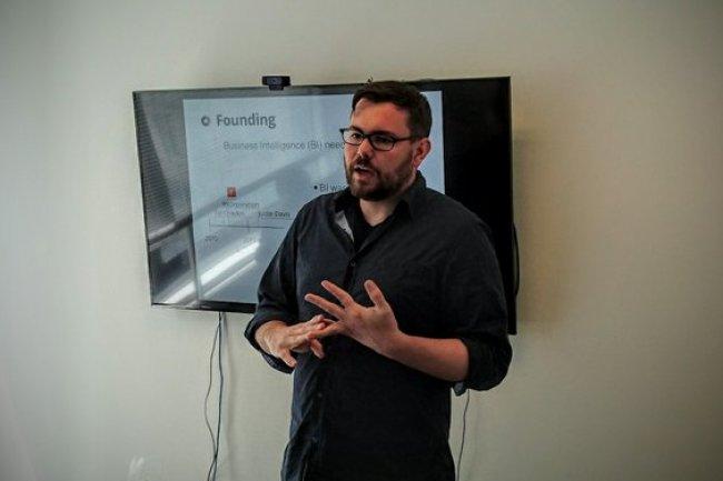 Dave Fowler, CEO de Chartio, nous a pr�sent� les fonctionnalit�s de sa plate-forme le 21 mars � San Francisco. (Cr�dit : S.L.)