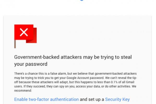 Pour mieux protéger les utilisateurs de Gmail, Google renforce les alertes. (crédit : D.R.)
