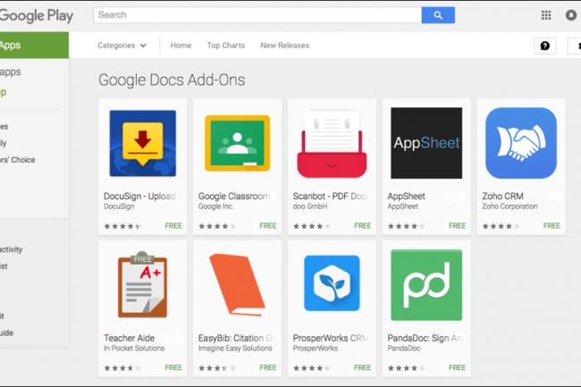 Les apps tierces vont permettre de muscler les fonctions de Google Docs et Sheets sur Android. (crédit : D.R.)