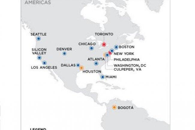 Equinix étend ses services d'interconnexion de datacenters aux Etats-Unis et en Amérique du Sud avec les implantations de Bogotá (Colombie), Culpeper (Virginie) et Houston (Texas) de Verizon. Crédit: D.R.