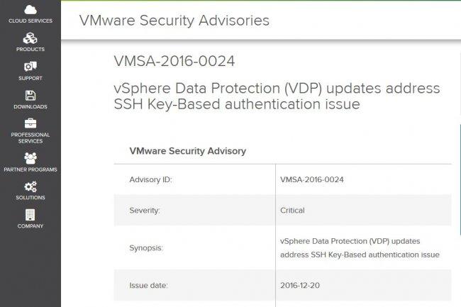 VMware a émis des bulletins de sécurité pour deux de ses produits, vSphere Data Protection (ci-dessus) et vSphere Hypervisor.