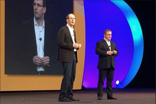 Sur Citrix Summit 2017, le 9 janvier, Scott Guthrie, vice-président exécutif de Microsoft, et Kirill Tatarinvo, CEO de Citrix, présentent les nouvelles intégrations entre leurs offres. (crédit : D.R.)