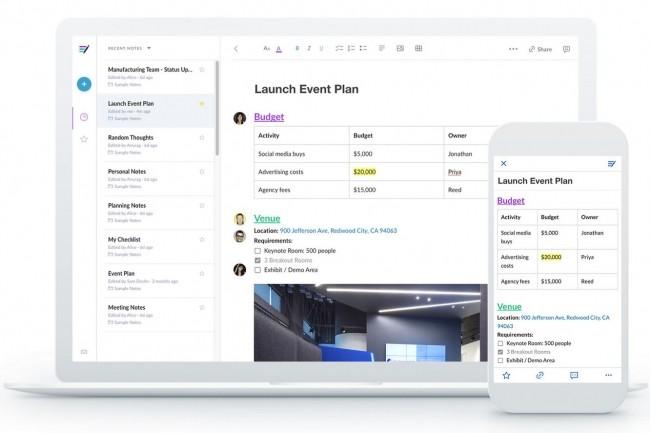 Notes, le logiciel de collaboration en temps r�el de Box, permet � une �quipe de travailler en temps r�el sur une m�me note partag�e.