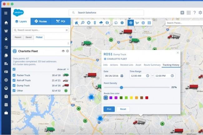 Avec MapAnything Live, une entreprise peut suivre les véhicules qu'elle a déployés dans le cadre de services gérés avec Salesforce.