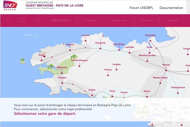 Sur le site web du projet Liaisons nouvelles Ouest Bretagne – Pays de la Loire (LNOBPL), les internautes peuvent tester diverses hypothèses et mesurer les impacts de leurs choix.