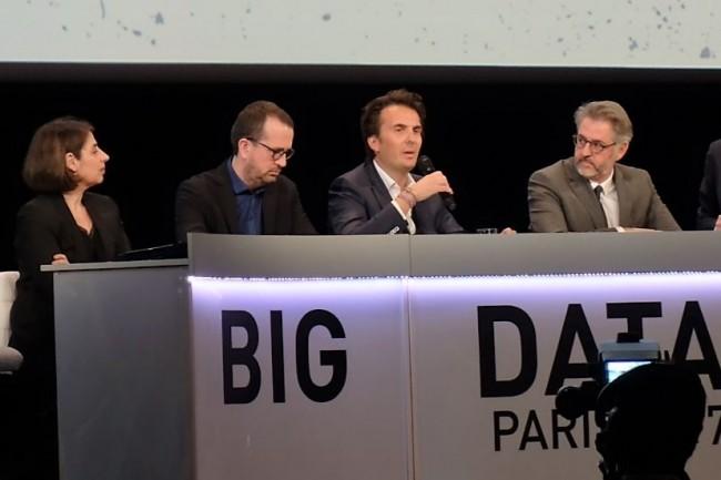 Sur Big Data Paris 2017, ce 7 mars, de gauche à droite, Emmanuel Payan, chief data officer de Société Générale, Simon Chignard, data editor d'Etalab, Yannick Bolloré, PDG d'Havas et Benoît Binachon, associé d'Uman Partners. (crédit : M.G.)