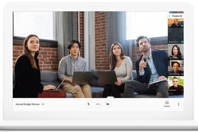 Avec Hangouts Meet, Google propose de mettre en place des visio-conférences regroupant jusqu'à 30 participants. (crédit : D.R.)