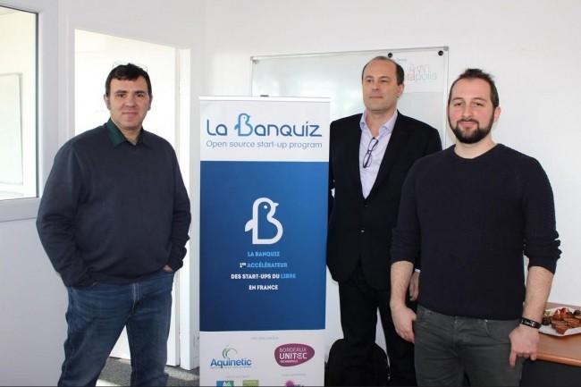 De gauche à droite, Jean-Christophe Elineau (directeur du Pôle Aquinetic), Stéphane Rochon (directeur de Bordeaux Unitec) et Jérémy Laviole (gérant de RealityTech). Crédit : D.R.