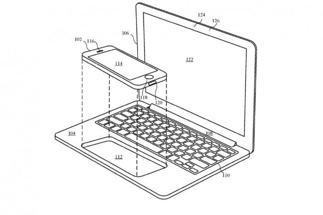 Le châssis décrit par Apple dans un brevet récemment publié arbore des allures de MacBook, mais c'est un iPhone qui l'anime. (crédit : Apple)