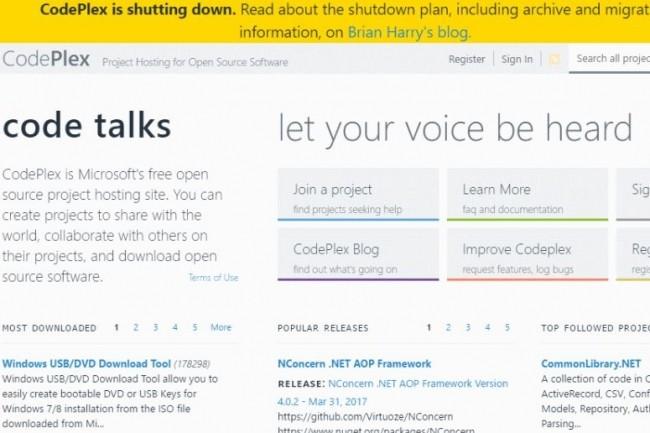 Microsoft fermera CodePlex d'ici la fin de l'année