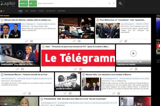 Le moteur de recherche français Xaphir propose une présentation aussi originale que déroutante des résultats de recherche. (crédit : D.R.)