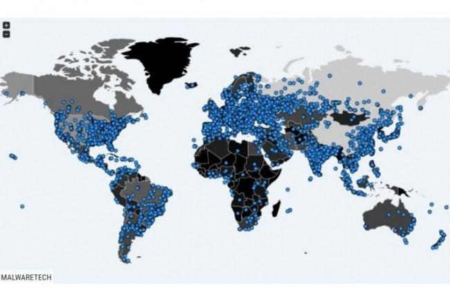 La carte des tentatives d'infection du rançongiciel WannaCry diffusée par le chercheur Malwaretech. Ce dernier met en garde les utilisateurs de PC sous Windows qui n'ont pas appliqué le correctif MS17-010.