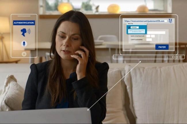 Talk To Pay remplace le cryptogramme qui se trouve au dos de la carte bancaire avec une phrase type proposée dans un appel téléphonique émis par la banque. (crédit. D.R.)