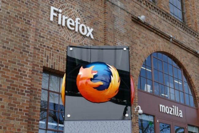 Le logo de Firefox devant le bureau de Mozilla à San Francisco le 10 février 2017.