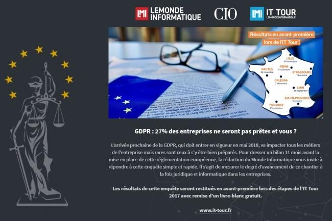Le Monde Informatique, CIO et l'IT Tour lancent une grande enquête en ligne sur GDPR. (crédit : IT News Info)