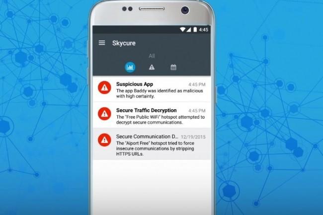 Interface de la solution de protection contre les cybermenaces mobiles de Skycure. (crédit : Skycure)