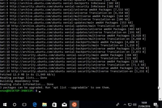 La distribution Linux de Canonical, Ubuntu 16.0.4 est téléchargeable via Windows Store pour les possesseurs de la build 16215 de Windows 10. (crédit : D.R.)