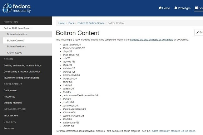 Les principaux paquets logiciels populaires sont intégrés au projet Fedora Bolton.