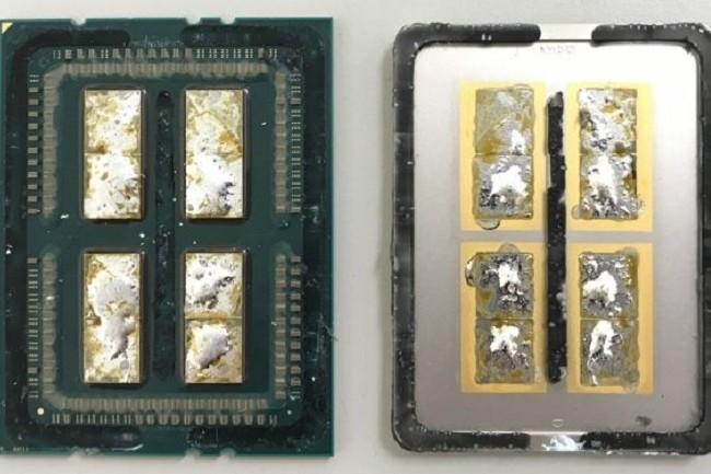 Quatre matrices de huit cœurs dans le Ryzen Threadripper 1950X, mais seulement 16 cœurs actifs au final. (Crédit Der8bauer)