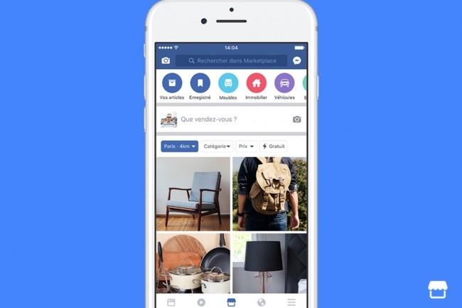 Pour consulter les annonces faites sur Facebook Marketplace, les membres du réseau social cliquent sur l'icône associée. (crédit : D.R.)
