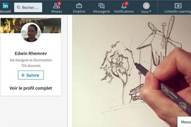 Avec la fonction vidéo ajoutée à Linkedin, les membres du réseau social vont pouvoir partager leur savoir-faire ou présenter une expérience professionnelle. (Crédit : D.R.)