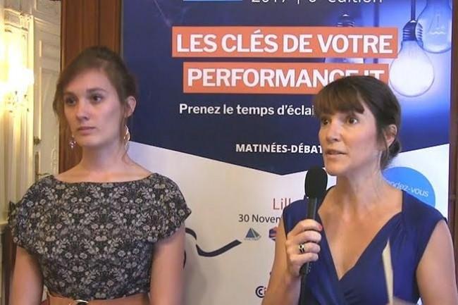 Clémence Drouillat, chef de produits serveur chez HPE ainsi que Lara Doridot, channel marketing manager chez HPE le 7 juillet 2017 à Paris. (crédit : LMI)